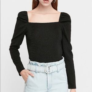 Express Textured Square Neck Puff Sleeve Top